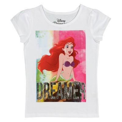 Disney Little Mermaid Baby Girls' Short Sleeve Tee - White 12M