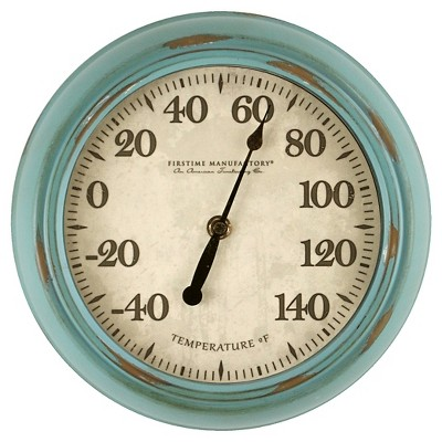 Firstime Turquoise Retreat Outdoor Thermometer - Distressed Finish 9.8""