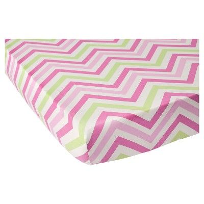CoCaLo Audrey Fitted Sheet - Chevron - Pink