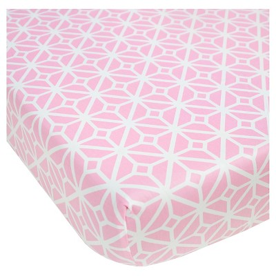 CoCaLo Audrey Fitted Sheet - Trellis - Pink