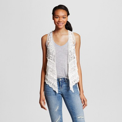 Women's Crochet Vest Cream XL/XXL - Mossimo Supply Co.™ (Juniors')