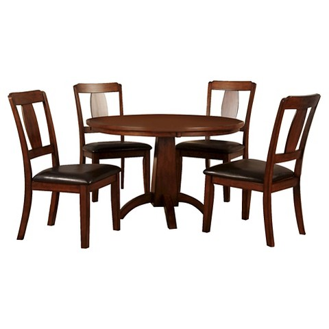 Piece Block Pedestal Round Dining Table Set Antique Dark Oak