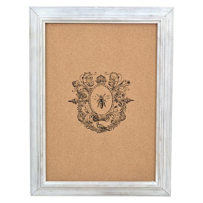 Framed Bee Crest Printed Corkboard 16x21in. - White