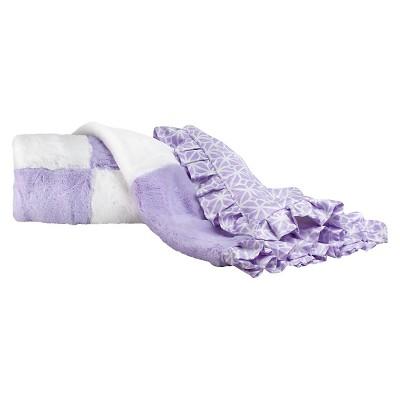 CoCaLo Violet Blanket - Patchwork Fur - Lavender/White