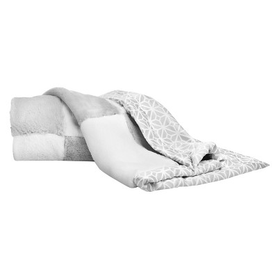 CoCaLo Julian Blanket - Patchwork Fur - Gray/White