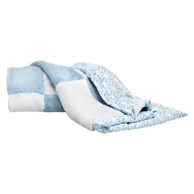 CoCaLo Connor Blanket - Patchwork Fur - Blue/White