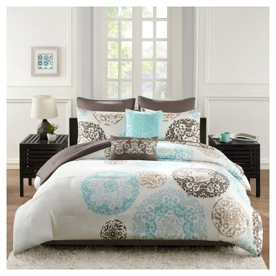 Medallion Kali Bed Set Queen 8 piece - Teal