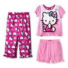 Hello Kitty Toddler Girls' 3pc Pajama Set Pink