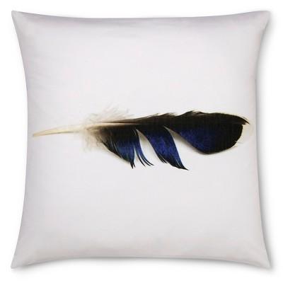 "Mallard Feather Print Pillow - 18x18"" - Blue&White - STILL by Mary Jo™"