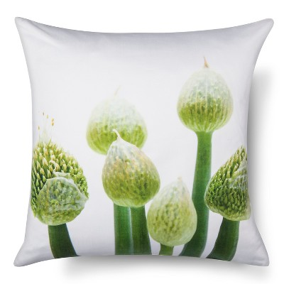 "Garlic Flower Print Pillow (18""x18"") Green&White - STILL by Mary Jo™"