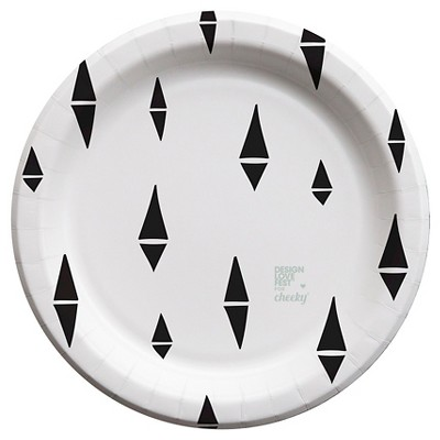 "Cheeky 7"" Paper Plates - designlovefest for Cheeky, Black Split Diamond (58 ct)"