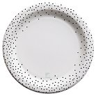 "Cheeky 10"" Paper Plates - designlovefest for Cheeky, Black Polka Dot Edge (30 ct)"