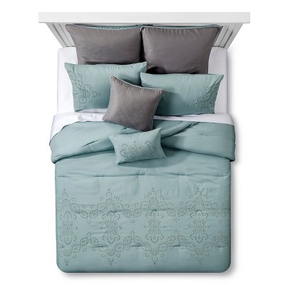 Adella Eyelet Bed Set Queen 8 Piece - Blue