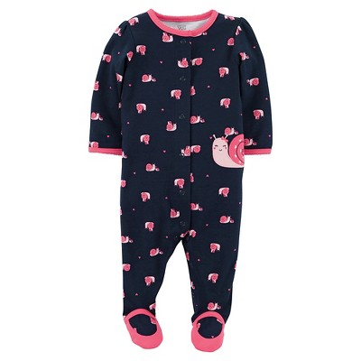 Just One You™Made by Carter's®  Newborn Girls' Sleep N Play - Dark Blue/Pink 9M
