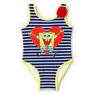 Toddler Girls' Spongebob Squarepants One-Piece Swimsuit Blue/White Stripes