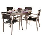Oxford Garden Travira 5-Piece Dining Set - Powder Coated Aluminum with Vintage Tekwood and Resin Wicker