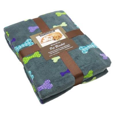 Bone Pattern Dark Grey Pet Blanket Throw - L