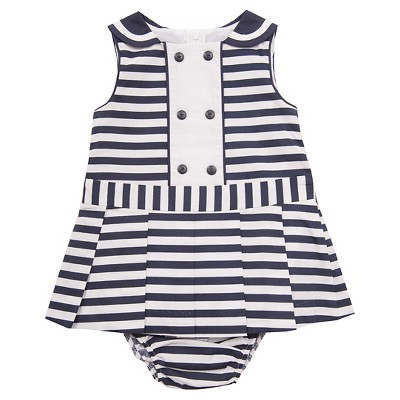 Rare-Too! Baby Girls' Nautical Striped Dress - Navy/White 3-6 M