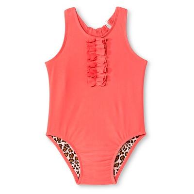 Baby Girls' Racerback Animal Print Lined One-Piece Activewear Swimsuit Cabana Orange 9M - Circo™