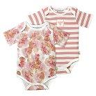 Burt's Bees Baby Infant Girls' 2 Pack Bodysuit - 12M Floral/Striped