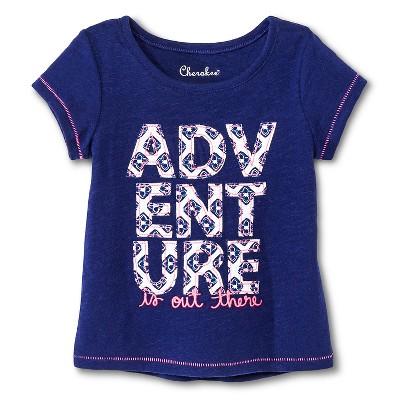 Baby Girls' Adventure Graphic Short Sleeve Tee Blue 12M - Cherokee®