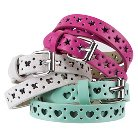 Girls' 3-Pack Narrow Perforated Star Heart Butterfly Belt - Multicolored S