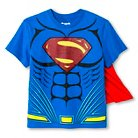 Boys' Dawn of Justice Superman Caped Graphic Tee XS Blue