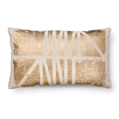 Gold Foil Oblong Decorative Pillow White - Room Essentials™