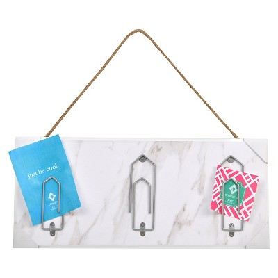 "Faux Marble Wood Plaque with 3 Oversized Paperclips and Jute Rope Hanger 16""x 17"" - White"