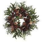 Pine and Pine Cone Wreath with Burlap Bows - Green