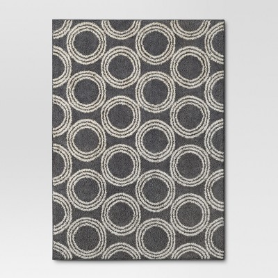 Basic Shag Area Rug Gray Circles 5' x 7' - Room Essentials™
