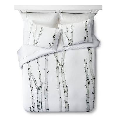 Birch Print Duvet Set - Queen - Natural&White - 3pc - STILL by Mary Jo™
