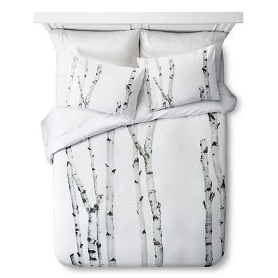 Birch Print Duvet Set - Queen - Natural&White - 3pc - STILL by Mary Jo™