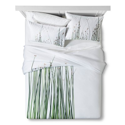 Lake Reeds Print Duvet - Queen - Green&White - 3pc - STILL by Mary Jo™