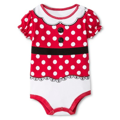 Disney Baby Girls' Minnie Mouse Bodysuit Red 6-9 M