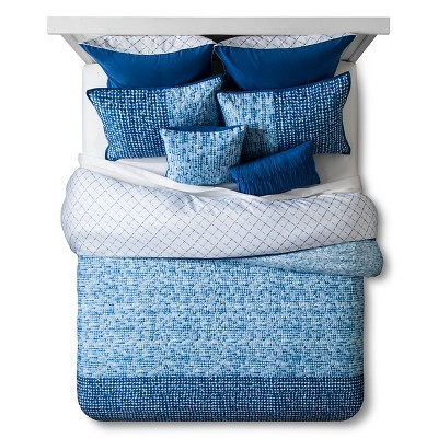 Dottie Painted Dot Quilted Duvet Set Queen 8 Piece - Blue