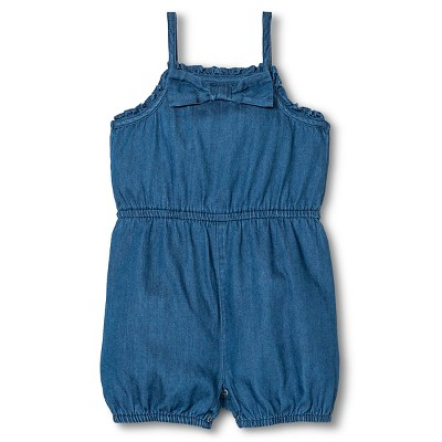 Cherokee® Baby Girl Romper Denim - Blue 0-3 M