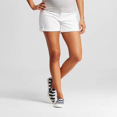Maternity Inset Under the Belly Jean Shorts White M - Liz Lange® for Target