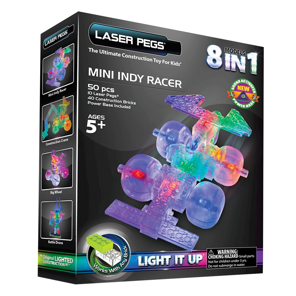 Laser Pegs 8 in 1 Mini Indy Racer Lighted Construction Toy