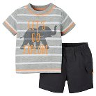 Just One You™Made by Carter's® Newborn Boys' 2 Piece Short Set - Light Grey/Dark Grey NB