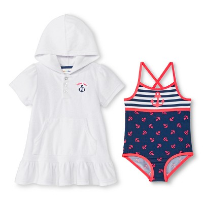 Toddler Girls' Terry Cover Up and One Piece Swim Suit - Navy 3T