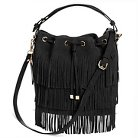 Women's Suede Fringe Bucket Handbag with Detachable Shoulder Strap - Brown