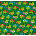 "TMNT Turtle Heads, Green, Flannel, 42/43"" Width, Fabric by the Yard"