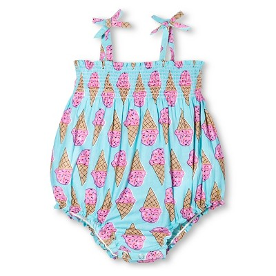 Happy by Pink Chicken Baby Girls' Ice Cream Print Bubble Romper - Turquoise 6-12M