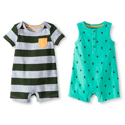 Baby Boys' Two Pack Romper Green/Green-Gray Stripe 0-3 M - Cherokee®