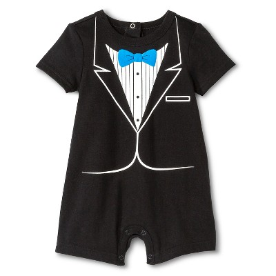Baby Boys' Romper Tuxedo Ebony 12 M - Cherokee®