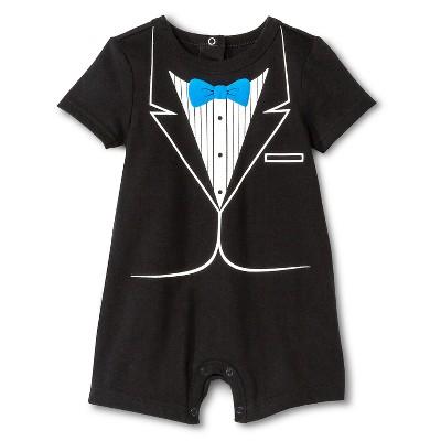 Cherokee® Baby Boys' Romper Tuxedo - Ebony 18 M