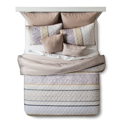 Dakota Horizontal Banded Quilted Duvet Set King 8 Piece - Neutral