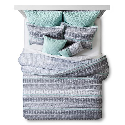 Geo Handrawn Quilted Duvet Set Queen 8 Piece - Grey
