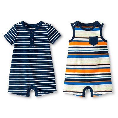 Baby Boys' Two Pack Romper Multi Stripe/Navy Stripe 6-9 M - Cherokee®